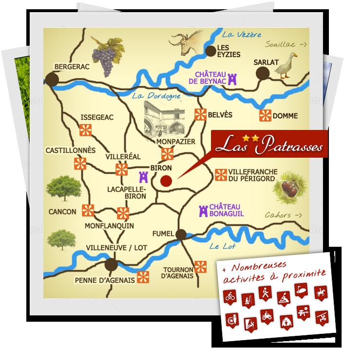 carte tourisme  sud Périgord dordogne